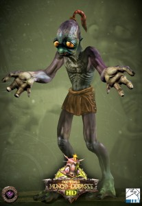 Promotional picture for Munch's Oddysee HD showing the new realtime model of Abe. He's shrugging, clearly showing he has four fingers on each hand.