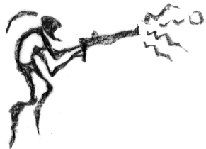 <cite>Abe's Oddysee</cite>-style rockart showing a Mudokon firing an industrial gun.