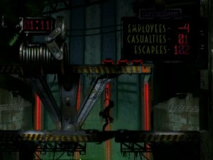 Screenshot from <cite>Abe's Oddysee</cite> showing 102 Mudokons have been rescued.