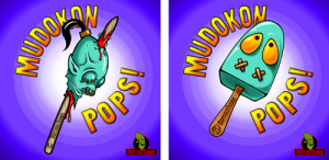 Two different designs for the Mudokon Pops logo. The first, on the left, is a cartoon Mudokon head graphically impaled by a stake. The second, on the right, is a classic ice lolly shape with eyes and mouth stitches.